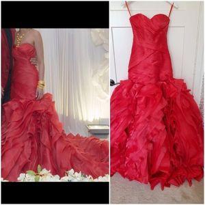 Sweetheart Rose Flower Mermaid Wedding Dress Red